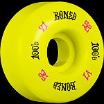 BONES WHEELS 100 Skateboard Wheels V1 Standard 52mm 100A 4pk Yellow