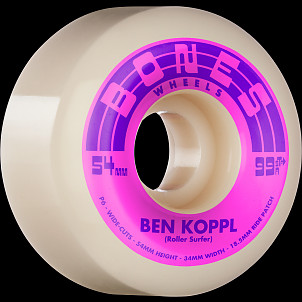 BONES WHEELS PRO STF Skateboard Wheels Koppl Rollersurfer 54mm V6 Wide-Cut 99a 4pk