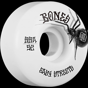 BONES WHEELS STF Black Widow Skateboard Wheels 52mm 99A Easy Streets V1 Standard 4pk White