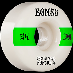 BONES WHEELS OG Formula Skateboard Wheels 100 #14 54mm V4 Wide 4pk White
