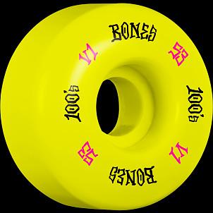 BONES WHEELS 100 Skateboard Wheels V1 Standard 53mm 100A 4pk Yellow