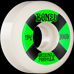BONES WHEELS OG Formula Skateboard Wheels 100 #4 54mm V5 Sidecut 4pk White