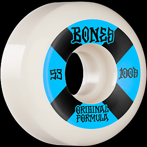 BONES WHEELS OG Formula Skateboard Wheels 100 #4 53mm V5 Sidecut 4pk White
