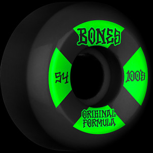 BONES WHEELS OG Formula Skateboard Wheels 100 #4 54mm V5 Sidecut 4pk Black