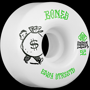 BONES WHEELS STF Easy Money Skateboard Wheels 52mm 99a Easy Streets V1 Standard 4pk White