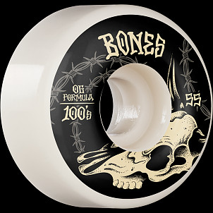 BONES WHEELS OG Formula Skateboard Wheels Desert Skull 55mm V4 Wide 4pk White