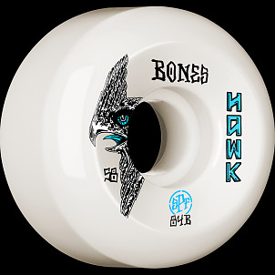 BONES WHEELS SPF Pro Hawk Bird''s Eye Skateboard Wheels P5 Sidecut 58mm 84B 4pk White
