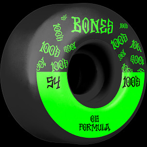 BONES WHEELS OG Formula Skateboard Wheels 100 #13 54mm V4 Wide 4pk Black