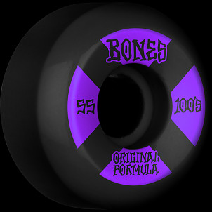 BONES WHEELS OG Formula Skateboard Wheels 100 #4 55mm V5 Sidecut 4pk Black