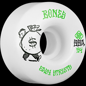 BONES WHEELS STF Easy Money Skateboard Wheels 54mm 99a Easy Streets V1 Standard 4pk White