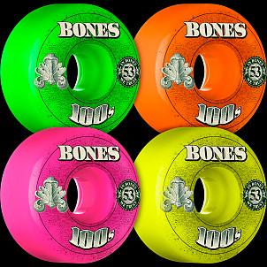 BONES WHEELS 100's OG Formula 53x34 V1 Skateboard Wheels 100a 4pk Asstd
