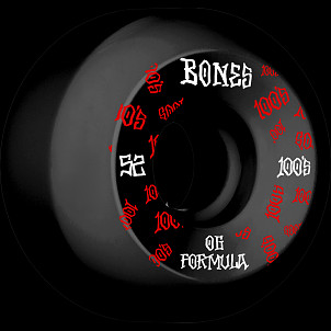 BONES WHEELS OG Formula Skateboard Wheels 100 #3 52mm V5 Sidecut 4pk Black