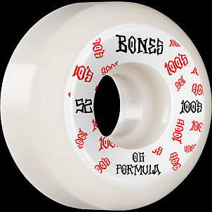 BONES WHEELS OG Formula Skateboard Wheels 100 #3 52mm V5 Sidecut 4pk White