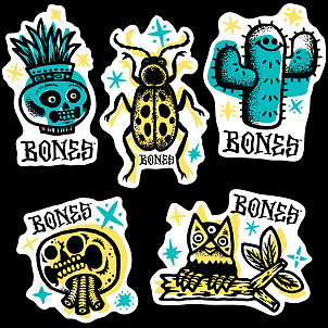 "BONES WHEELS Earth Rollers 3"" Sticker 20pk"