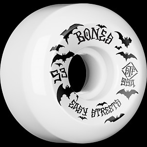 BONES WHEELS STF Bats Skateboard Wheels 53mm 99a Easy Streets V5 Sidecuts 4pk White