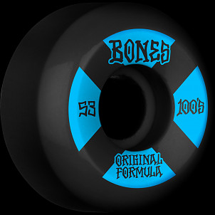 BONES WHEELS OG Formula Skateboard Wheels 100 #4 53mm V5 Sidecut 4pk Black