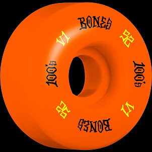 BONES WHEELS 100 Skateboard Wheels V1 Standard 52mm 100A 4pk Orange