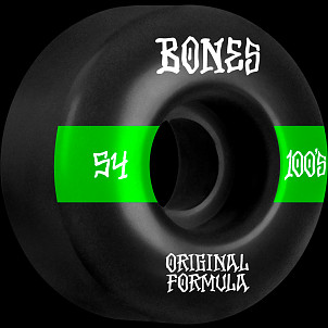 BONES WHEELS OG Formula Skateboard Wheels 100 #14 54mm V4 Wide 4pk Black