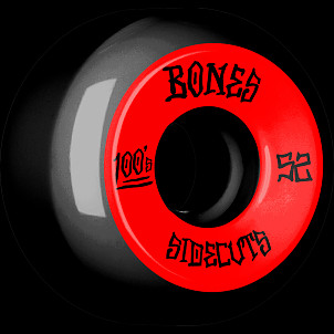 BONES WHEELS 100 #2 V5 Skateboard Wheel 52mm 4pk Black V5 Sidecut