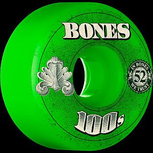 BONES WHEELS 100 Slims Skateboard Wheels 53mm - Green (4 pack)
