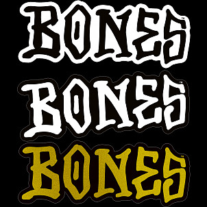 "BONES WHEELS 3"" BONES Sticker Singles - all 3"