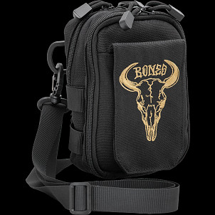 "BONES WHEELS Shoulder Bag Desert Horns 7"" x 5"" Black"