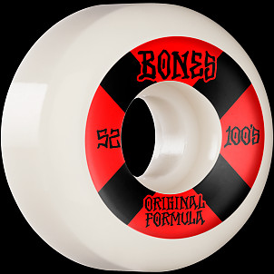 BONES WHEELS OG Formula Skateboard Wheels 100 #4 52mm V5 Sidecut 4pk White
