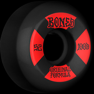 BONES WHEELS OG Formula Skateboard Wheels 100 #4 52mm V5 Sidecut 4pk Black