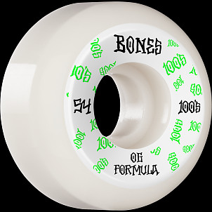BONES WHEELS OG Formula Skateboard Wheels 100 #3 54mm V5 Sidecut 4pk White