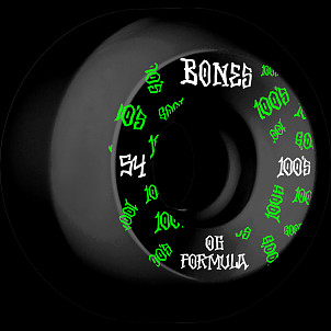 BONES WHEELS OG Formula Skateboard Wheels 100 #3 54mm V5 Sidecut 4pk Black