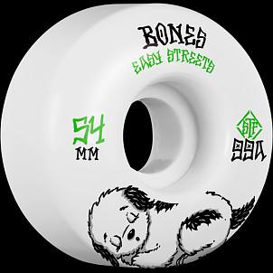 BONES WHEELS STF Rest Easy Skateboard Wheels 54mm 99a Easy Streets Fatties 4pk White