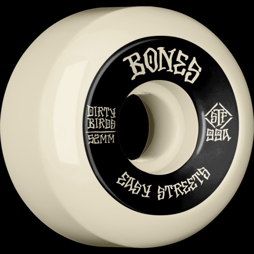 BONES WHEELS STF Easy Streets Dirty Birds Skateboard Wheels Sidecuts 52mm 99A 4pk White