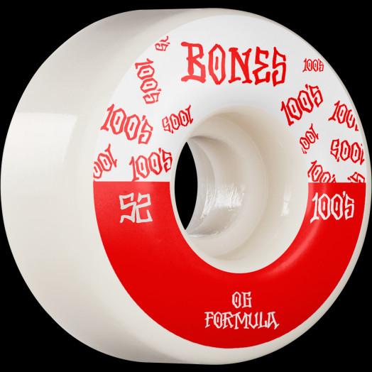 BONES WHEELS OG Formula Skateboard Wheels 100 #13 52mm V4 Wide 4pk White