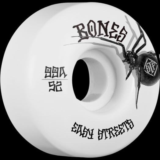 BONES WHEELS STF Black Widow Skateboard Wheels 52mm 99A Easy Streets V1 Standard 4pk White