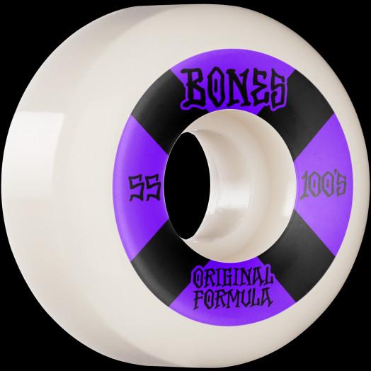 BONES WHEELS OG Formula Skateboard Wheels 100 #4 55mm V5 Sidecut 4pk White