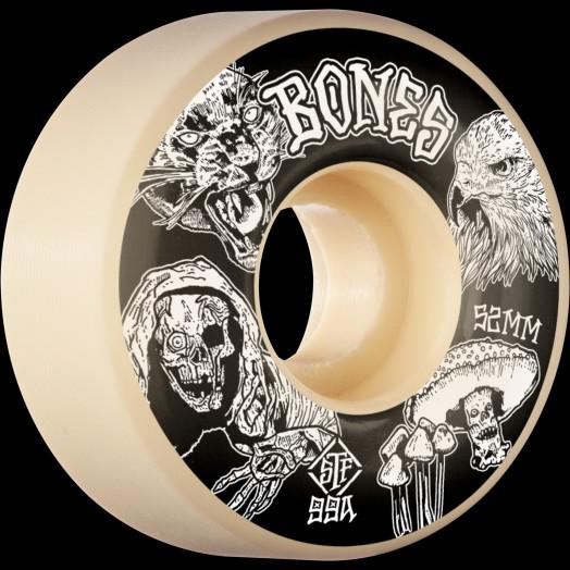 BONES WHEELS STF Night Watch Skateboard Wheels 52mm 99a Easy Streets V1 Standard 4pk White