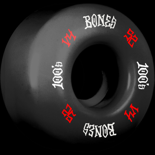 BONES WHEELS 100's #12 OG Formula 52x34 V4 Skateboard Wheels 100A 4pk Black