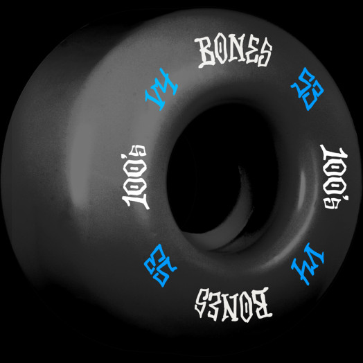 BONES WHEELS 100 Skateboard Wheels V4 Wide 100A 4pk Black