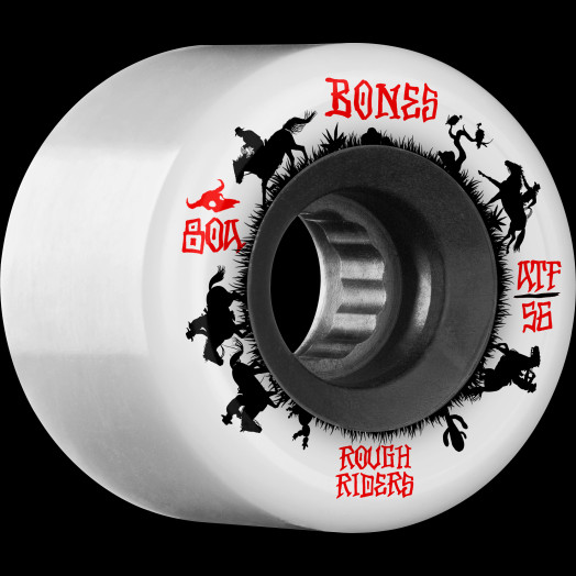 BONES WHEELS ATF Rough Rider Skateboard Wheels Wranglers 56mm 80a 4pk White