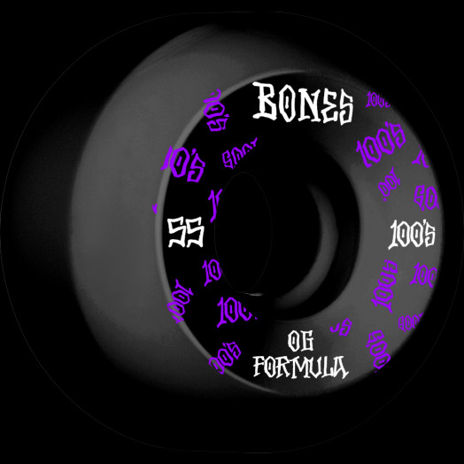 BONES WHEELS OG Formula Skateboard Wheels 100 #3 55mm V5 Sidecut 4pk Black