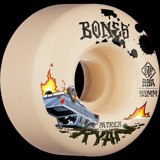 BONES WHEELS PRO STF Skateboard Wheels Ryan Crash & Burn V4 Wide 99A 4pk