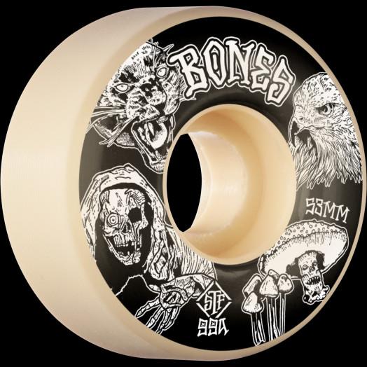 BONES WHEELS STF Night Watch Skateboard Wheels 53mm 99a Easy Streets V1 Standard 4pk White