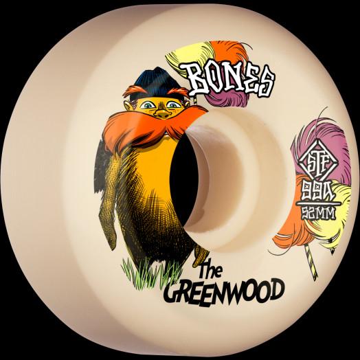 BONES WHEELS PRO STF Skateboard Wheels The Greenwood 52mm V5 Sidecut 99a 4pk