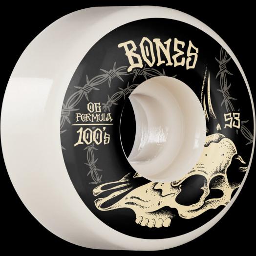 BONES WHEELS OG Formula Skateboard Wheels Desert Skull 53mm V4 Wide 4pk White
