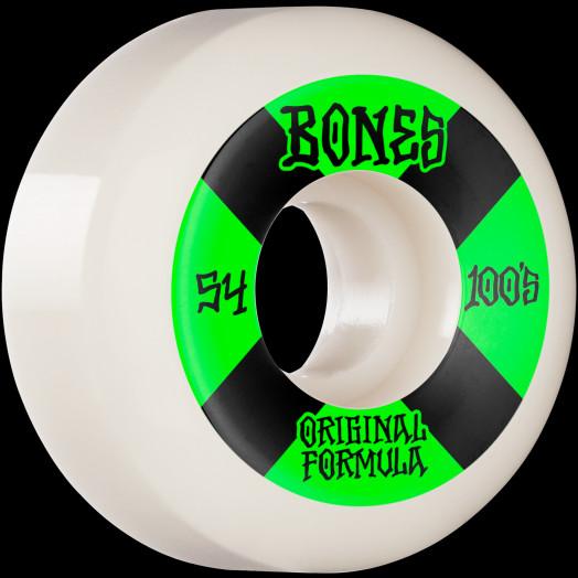 BONES WHEELS OG Formula Skateboard Wheels 100 #4 54mm V5 Sidecut 4pk White