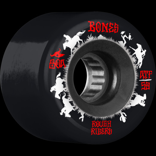 BONES WHEELS ATF Rough Rider Skateboard Wheels Wranglers 59mm 80a 4pk Black
