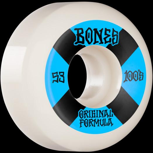 BONES WHEELS OG Formula Skateboard Wheels 100 #4 53mm V5 Sidecut 4pk White