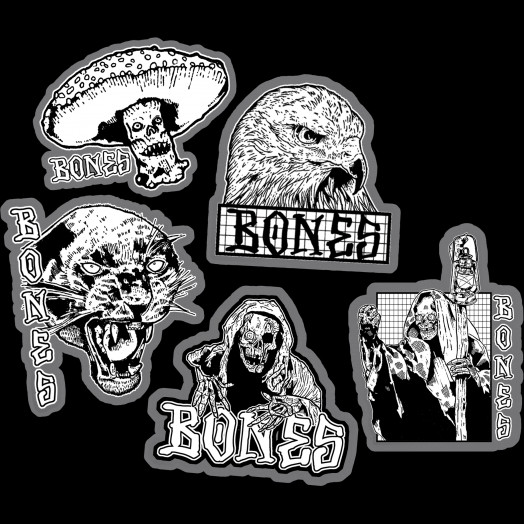 BONES WHEELS Night Watch Sticker 20 pack