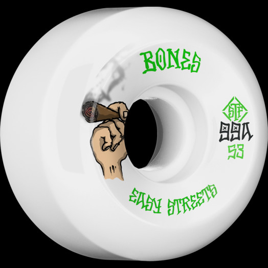 BONES WHEELS STF Easy Life Skateboard Wheels 53mm 99a Easy Streets V5 Sidecut 4pk White