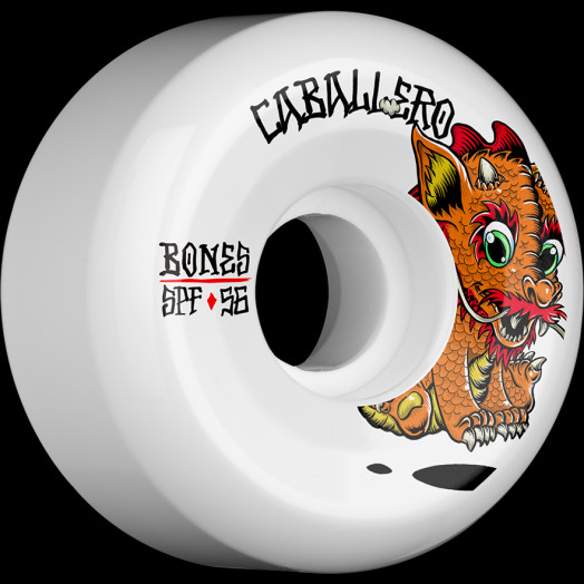 BONES WHEELS SPF Pro Caballero Baby Dragon Skateboard Wheels P5 Sidecut 56mm 84B 4pk White
